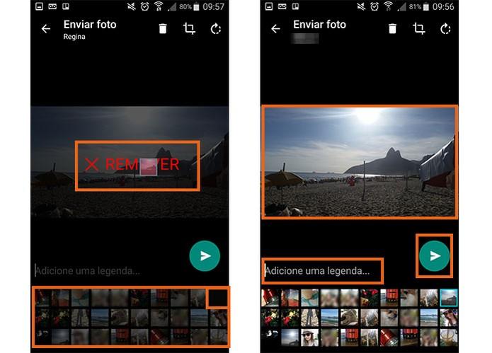 Remova os itens que preferir e envie as fotos no WhatsApp (Foto: Reprodução/Barbara Mannara)