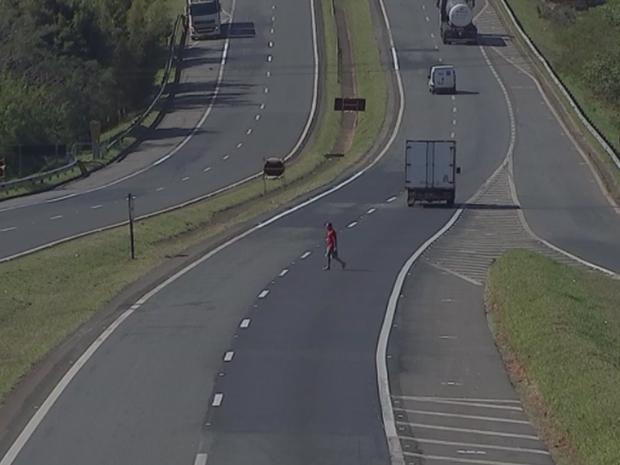 TV flagra pedestre atravessar rodovia em local proibido (Foto: Reprodução/TV TEM)