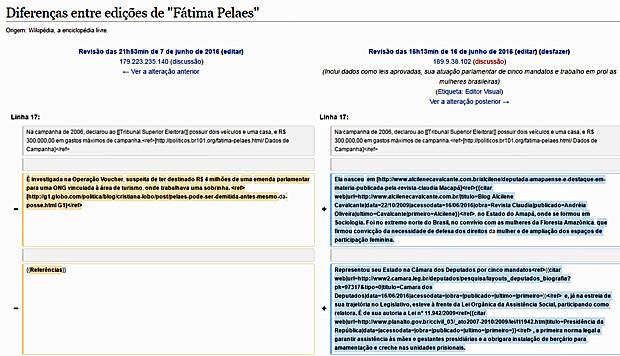 Página do Wikipedia mostra alterações feitas no perfil de Fátima Pelaes (Foto: Reprodução/Wikipedia)