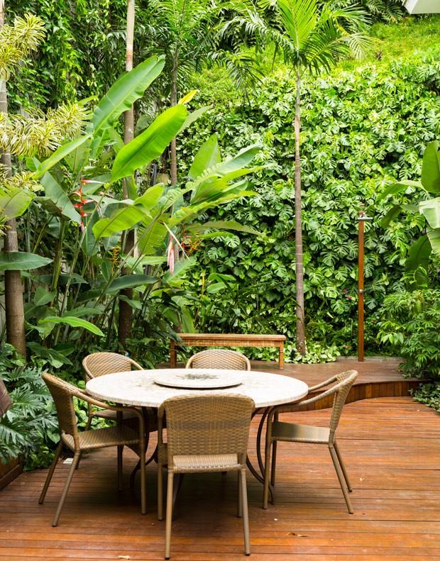 jardim-vertical-suspenso-paisagista-Gabriella-Ornaghi-forração-de-xanadus-helicônias-palmeiras-carpentárias (Foto: Edu Castello/Editora Globo)