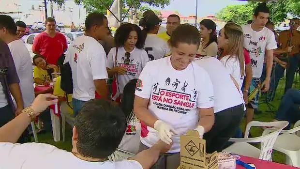 Campanha do Instituto de Hematologia do AP busca doadores esportistas (Foto: Reprodução/TV Amapá)