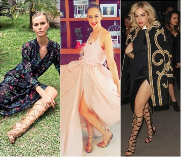 Renata Kuerten, Talytha Pugliesi e Rita Ora adoram usar sandálias gladiadoras no dia a dia  (Foto: Reprodução do Instagram)