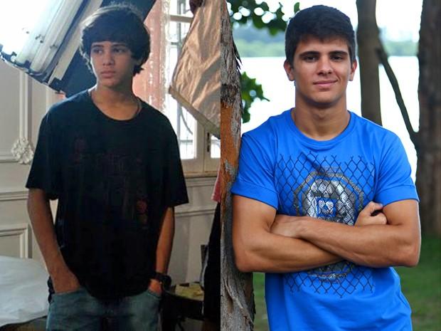 Matheus durante a gravação de um curta-metragem em 2011 e atualmente (Foto: Arquivo Pessoal e Raphael Dias/ Gshow)