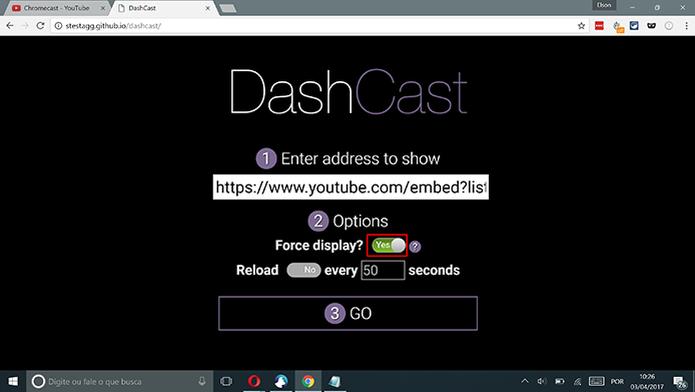 Ative a opção Force Display antes de transmitir playlists em loop no Chromecast (Foto: Reprodução/Elson de Souza)