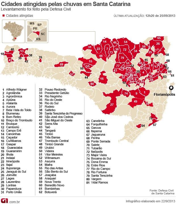 Mapa 81 cidades atingidas pelas chuvas em SC (Foto: Editoria de Arte/G1)