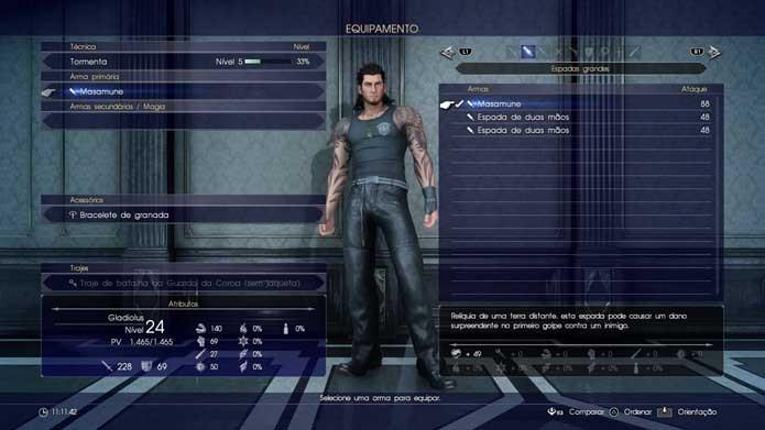 Também dá para equipar a arma a outros personagens do seu grupo em Final Fantasy XV (Foto: Reprodução/Murilo Molina)