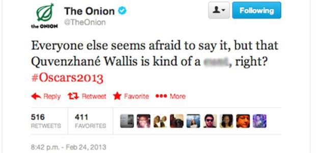 Mensagem postada no perfil do site 'The Onion' no domingo (24), com insulto à atriz Quvenzhane Wallis. 'Todos estão com medo de dizer, mas aquela Quvenzhané Wallis é uma idiota, não é?', escreveu o 'The Onion' (Foto: Reprodução/Twitter)