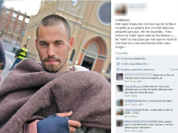 Rapaz pediu para ser fotografado porque queria ficar famoso (Foto: Reprodução / Facebook)