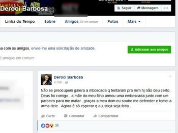 Postagem Deroci (Foto: Reprodução/Facebook)