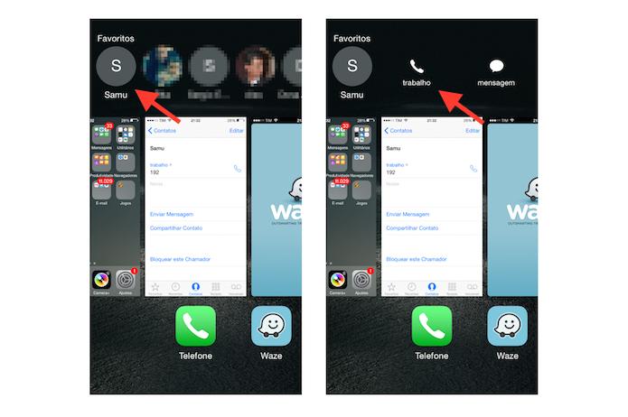 Visualizando e ligando para um número de emergência inserido como favorito na tela multi tarefa do iPhone com iOS 8 (Foto: Reprodução/Marvin Costa)