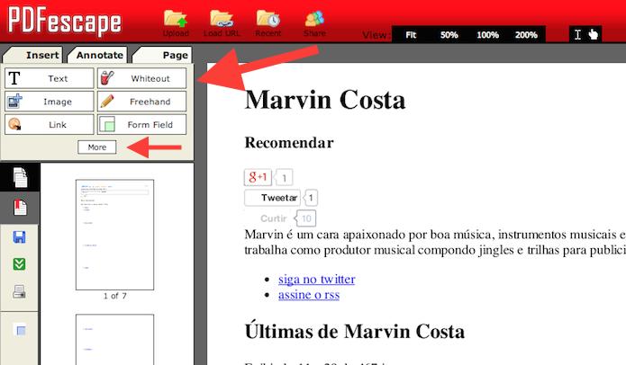Utilizando as ferramentas de edição do PDFescape (Foto: Reprodução/Marvin Costa)