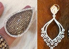 Brinco e anel de diamantes usados por Deborah Secco em prêmio no Rio (Foto: Isac Luz/EGO e Reprodução/Internet)