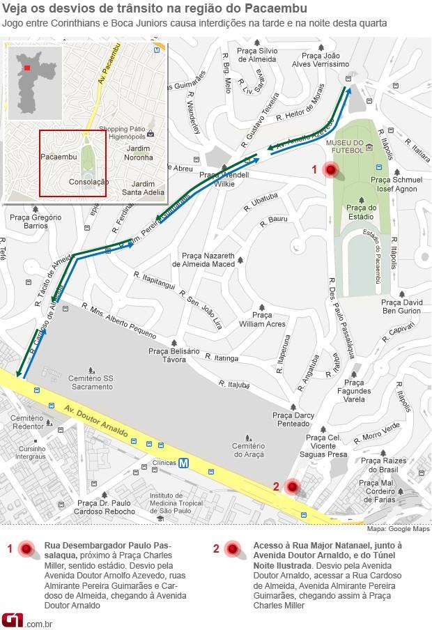 mapa pacaembu libertadores (Foto: Arte/G1)