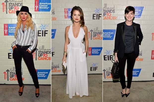 Christina Aguilera, Selena Gomez e Anne Hathaway (Foto: AFP)