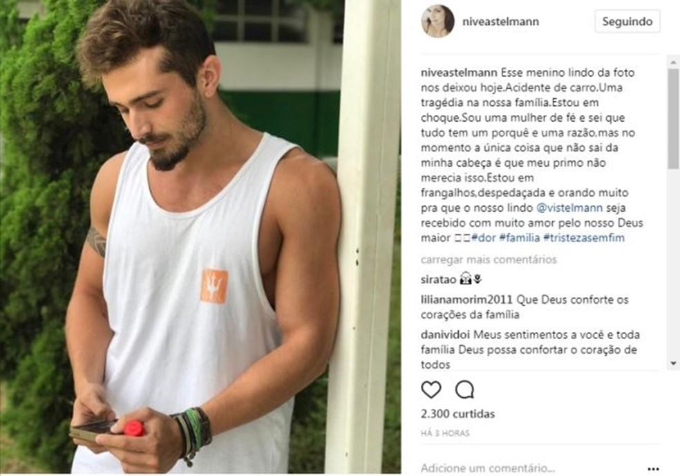 Nívea Stelmann lamenta a morte do primo Vinícius (Foto: Reprodução Instagram)