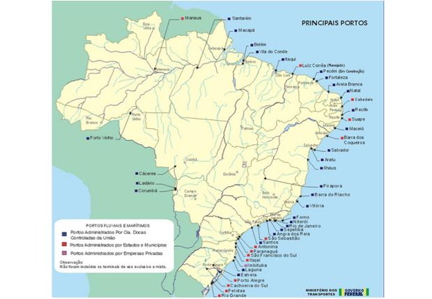 Mapa com portos ao longo do país (Foto: Ministério dos Transportes)