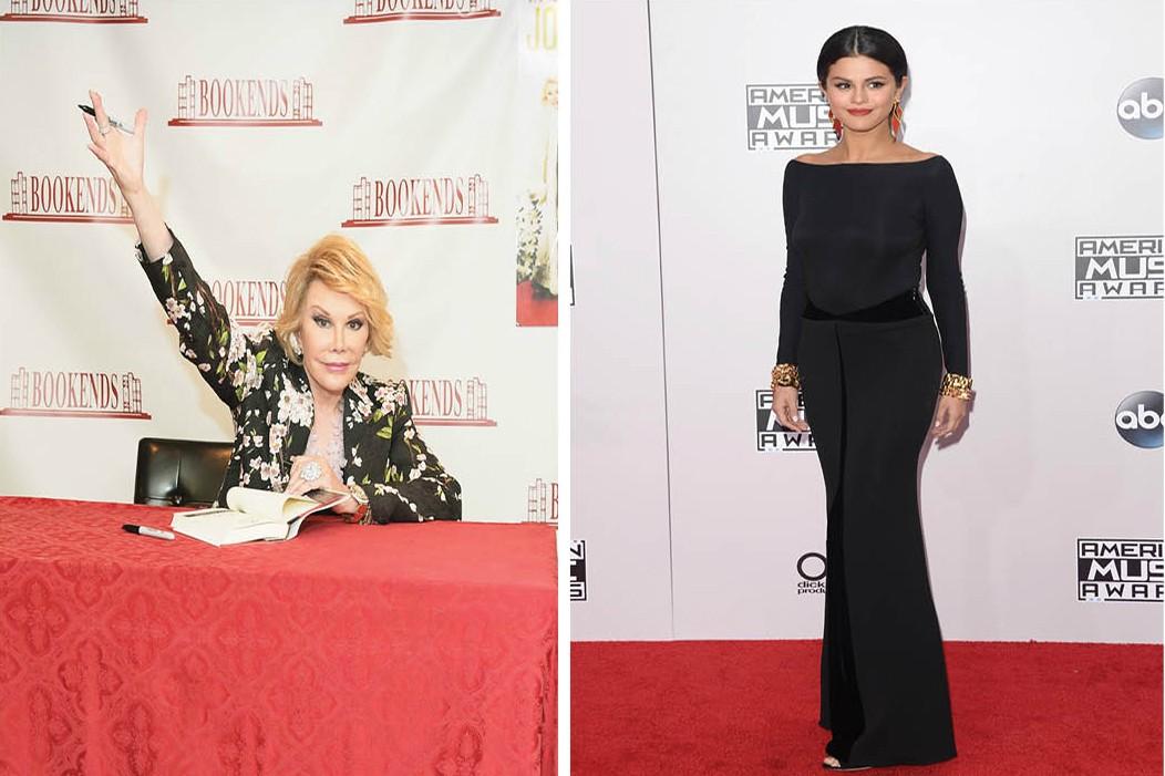 """Morta no final de 2014, Joan Rivers fez críticas pesadas à jovem Selena Gomez.no meio do ano passado. Questionada pela imprensa sobre celebridades que expressam suas opiniões em relação aos conflitos entre Israel e Palestina, Rivers pegou pesado: """"Ah, aquela garotinha, Selena Gomez...precisamos descobrir se ela consgue soletrar 'palestino' corretamente"""". (Foto: Getty Images)"""