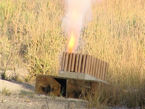 Fogos de artifício em Santo Antônio do Monte (Foto: Reprodução/TV Integração)