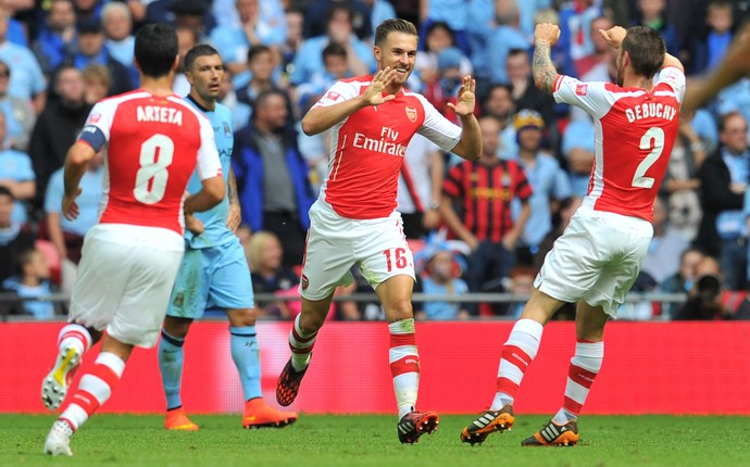Aaron Ramsey gol Arsenal x Manchester City (Foto: AFP)