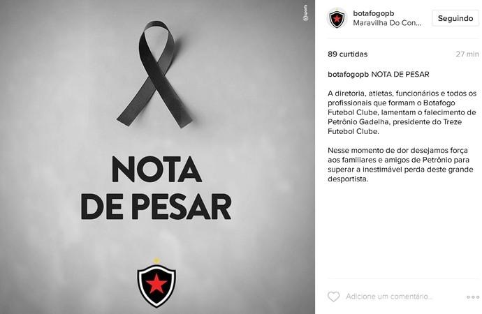 Botafogo-PB luto oficial pela morte de Petrônio Gadelha (Foto: Divulgação/BFC)