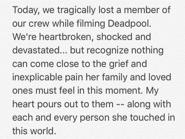 A mensagem compartilhada por Ryan Reynolds lamentando a morte da dublê no set de Deadpool 2 (Foto: Instagram)