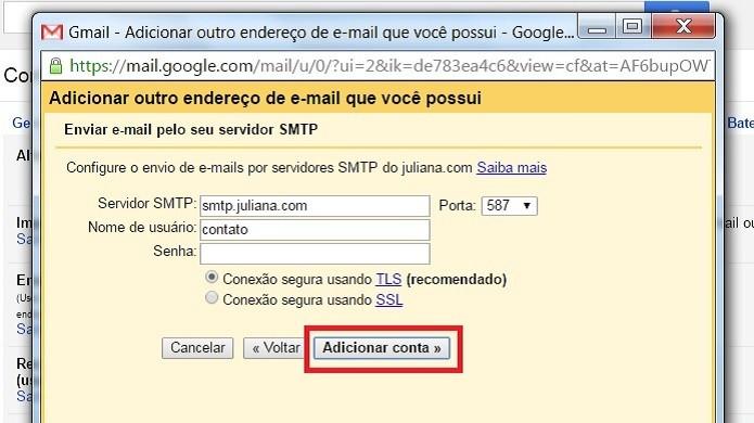"""Insira os dados solicitados e clique em """"Adicionar conta"""" (Foto: Reprodução/Juliana Pixinine)"""