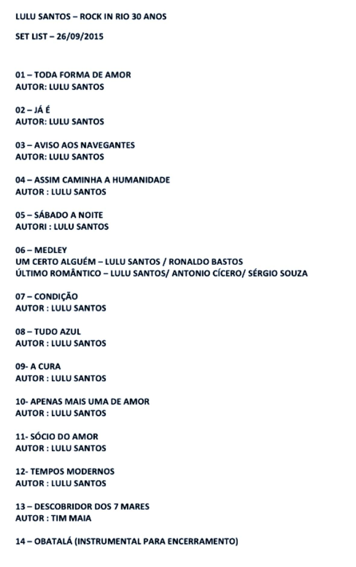 Setlist  Lulu Santos Rock in Rio 2015 (Foto: Multishow)