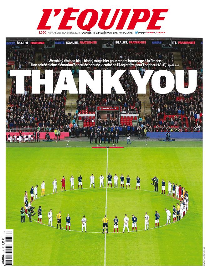 BLOG: Jornal francês agradece apoio inglês em amistoso após atentados