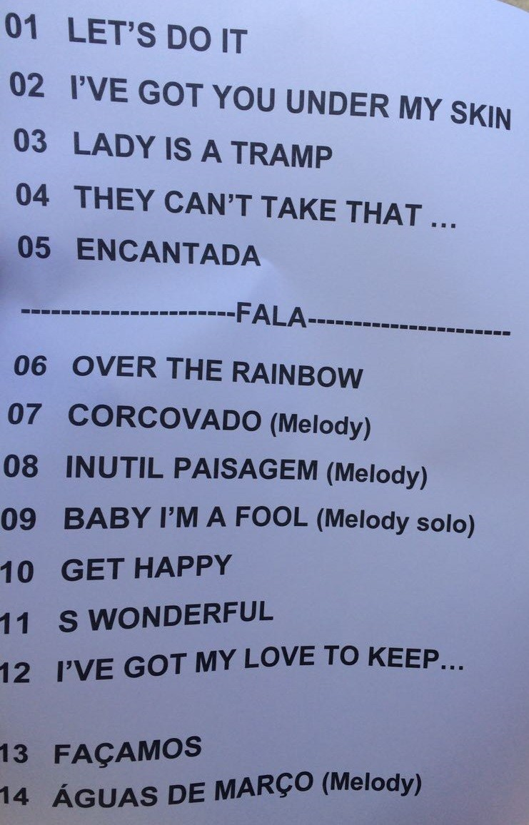 Setlist da homenagem a Ella Fitzgerald, com Maria Rita e Melody Gardot (Foto: Reproduo)