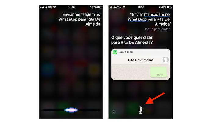 Comando de voz para que a Siri envie uma mensagem para o WhatsApp no iPhone (Foto: Reprodução/Marvin Costa)