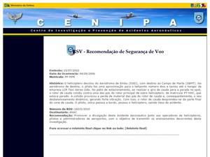 Relatório do Cenipa detalha colisão entre helicópteros em 2006 (Foto: Reprodução/Site Cenipa)