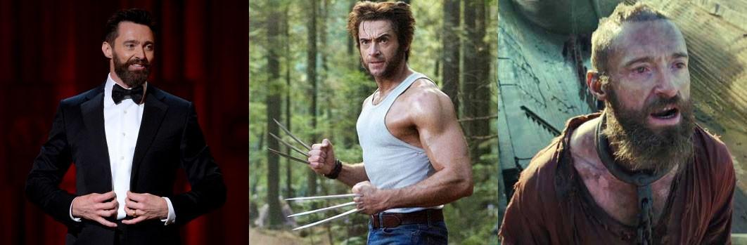 O eterno Wolverine está presente na franquia de 'X-Men' desde 2000 e ganhou 11 kg de massa muscular para interpretar Logan. Indo na contramão do estereotipo de super-herói, Jackman surge com falhas no cabelo, barba longa e com 7 kg a menos no musical 'Os Miseráveis'. (Foto: Getty Images/Reprodução)