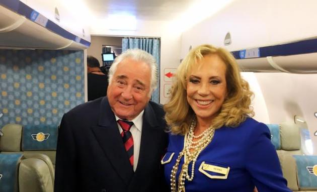 Luis Gustavo e Arlete Salles nos bastidores de Brasil a bordo (Foto: Reprodução)