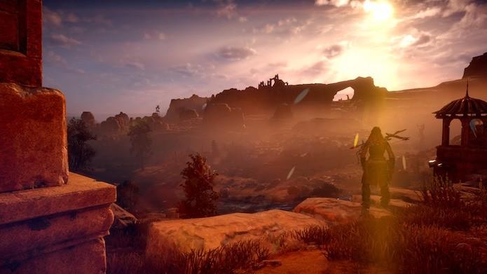 Horizon Zero Dawn: estude os inimigos antes de avançar (Foto: Reprodução/Victor Teixeira)