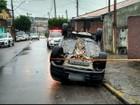 Motorista abandona carro depois de capotamento em Várzea Paulista