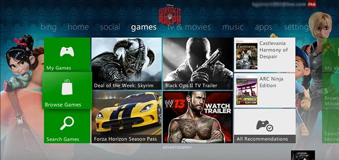 Vá até a aba Games em seu Xbox 360 (Foto: Reprodução/YouTube)