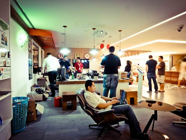 Área de lazer dos funcionários na nova sede do Google em São Paulo (Foto: Divulgação)