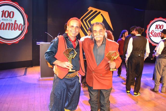 Marcello Caminha e Lucio Yanel com seus troféus Açorianos em punho.  (Foto: Nice Sordi/RBS TV)
