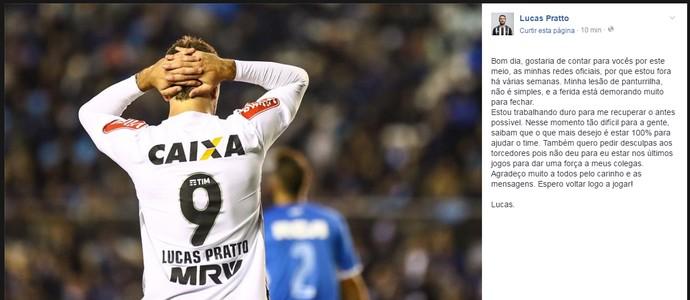 Lucas Pratto, atacante do Atlético-MG, esclarece lesão (Foto: Reprodução / Facebook)