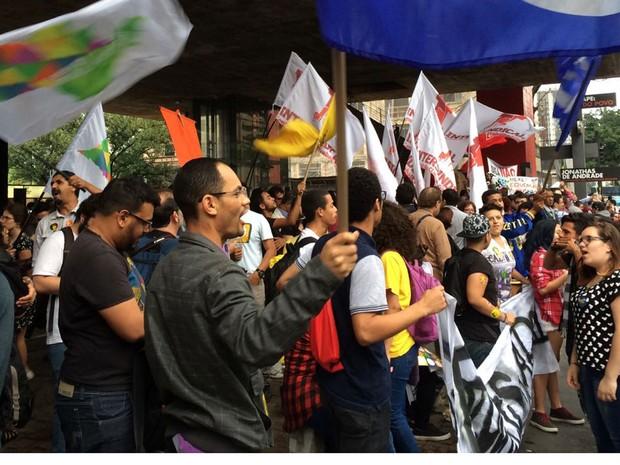 Manifestantes fazem protesto contra a PEC 241 na Avenida Paulista, em São Paulo (Foto: Livia Machado/G1)