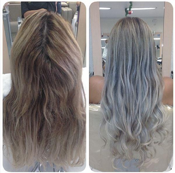 Antes e depois de Geisy Arruda no salão de beleza (Foto: Instagram/Reprodução)