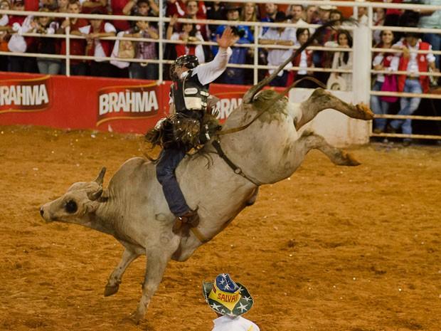 O peão Ted Way Flora monta o touro Marabá na final do Rodeio Internacional de Barretos (Foto: Érico Andrade/G1)