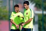 Neymar e Luis Suarez, Treino do Barcelona