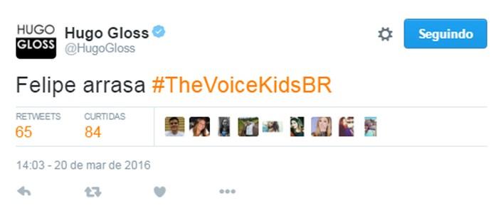 Hugo Gloss torce no The Voice Kids (Foto: Gshow)