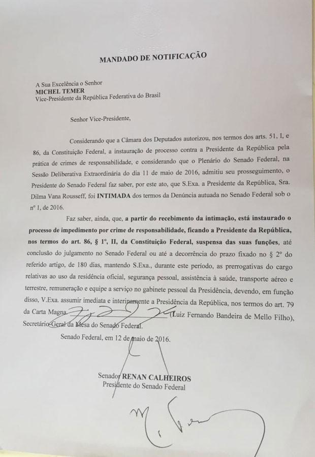 Ofício assinado por Michel Temer no qual ele é notificado do afastamento de Dilma Rousseff e de que assumiu como presidente (Foto: Reprodução)