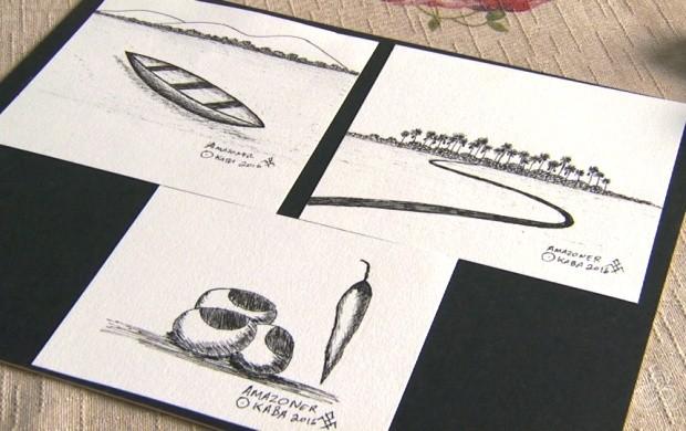 Artista de Roraima expõe obras que retrata as belezas da região Amazônica (Foto: Roraima TV)