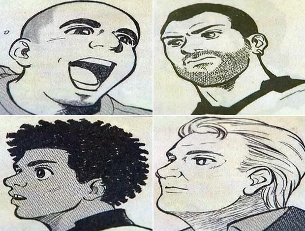 Todos os jogadores, incluindo o técnico Tite, foram representados em mangá japonês (Foto: Reprodução SporTV)