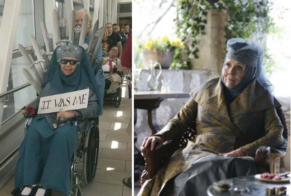 A fã de 85 anos de Game of Thrones vestida como Olenna Tyrell (Foto: Twitter/Reprodução)