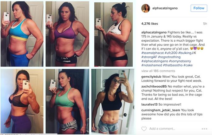 BLOG: Cat Zingano mostra antes e depois de perder quase 14kg para luta no UFC 200