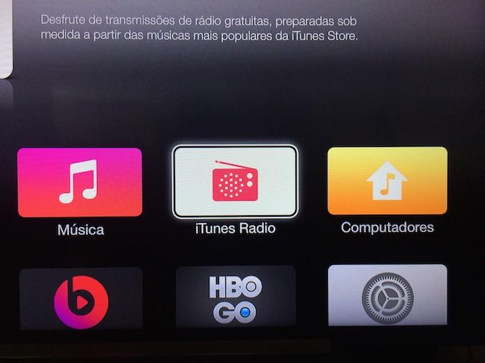 Acessando a iTunes Radio na Apple TV (Foto: Reprodução/Marvin Costa)